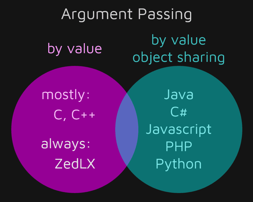Comparison of Popular Programming Languages by Argument Passing